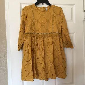 Zara embroidered jumpsuit dress yellow mustard